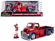 1:24 Scale 1952 Chevrolet COE Pickup Red & Blue w/Wonder Woman Figure - 30453