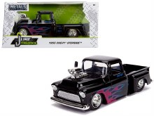1:24 Scale 1955 Chevy Stepside Pickup w/Blower Gloss Black w/Flames - 30714