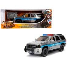 1:24 Scale 2010 Chevrolet Tahoe J.T. Police Raw Metal w/Blue Stripes Hero Patrol - JA31076