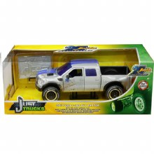 1:24 Scale 2011 Ford F-150 SVT Raptor Pickup Truck Raw Metal w/Blue Stripes (Dirty Version) - JA31086