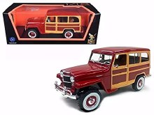 1:18 Scale 1955 Willys Jeep Station Wagon Burgundy - 92858