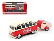 1:43 Scale 1962 Volkswagen Samba Bus & Teardrop Trailer Coca Cola - MC467433