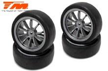 Mounted Rubber Tyre 10 spoke, Fog Silver - TM503334FS