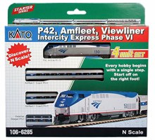 N Scale P42 Amfleet Viewliner Intercity Express Phase VI 4 Car Set - 1066285