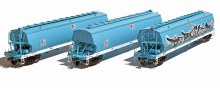 HO Gauge AWB Faded Dark Blue w/White Sills WGBY Grain Hoppers 3 Pack - WGB08