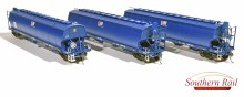 HO Gauge AWB Dark Blue WGSY Grain Hoppers 3 Pack - WGS01