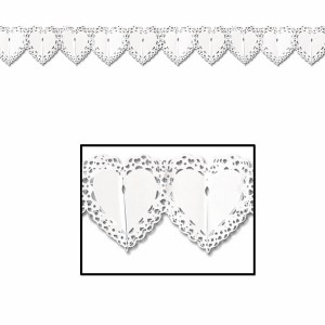 White Lace Heart Garland