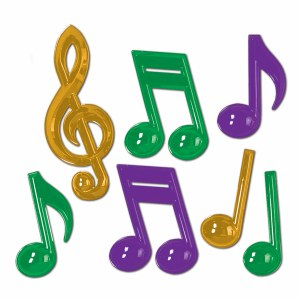 PLASTIC MUSICAL NOTES PURPLE GREEN AND GOLD