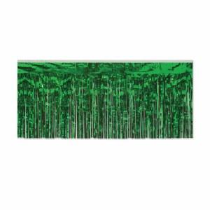 Green Metallic Fringe Drape