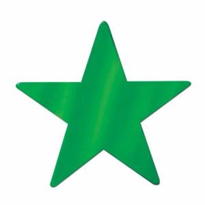 Foil Star Cutout 12in Green