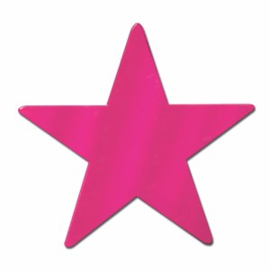 Foil Star Cutout Cerise 15in
