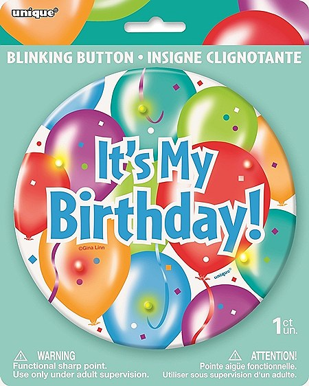 Big Blinking Birthday Girl Button