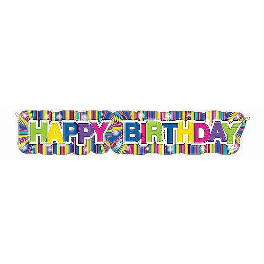 4.5 ft. Happy Birthday Banner Neon