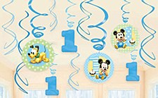 Mickey 1st Birthday Swirl Hanging Decoration