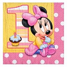 Minnie 1st B-day Big Napkins 16ct