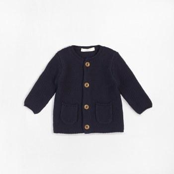 Baby Knit Cardigan Navy Nb-3m