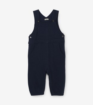 Baby Knit Overalls Navy 9-12m