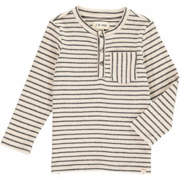 Grey Stripe Henley Tee 5-6y