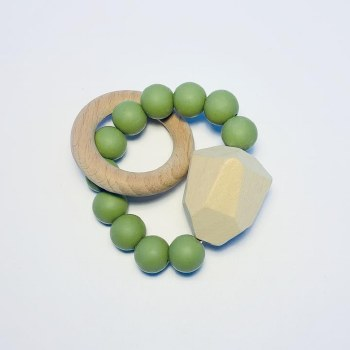 Gem Ring Teether Moss