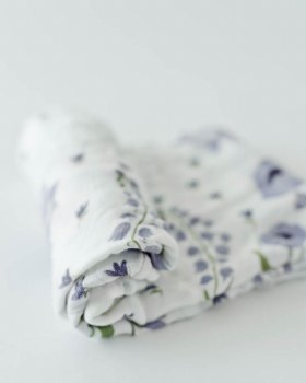 Deluxe Muslin Swaddle Blue Windflower