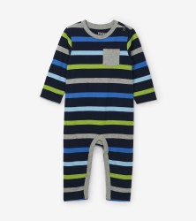 Romper Blue Stripe 3-6m