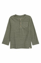Green Stripe Henley Tee 4-5y