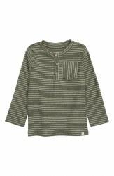Green Stripe Henley Tee 4-5y