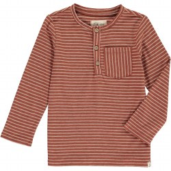 Brown Stripe Henley Tee 2-3y