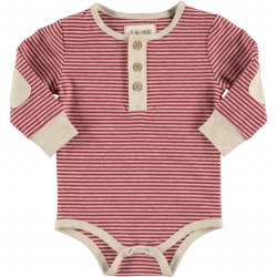 Red Stripe Henley Onsie 3-6m