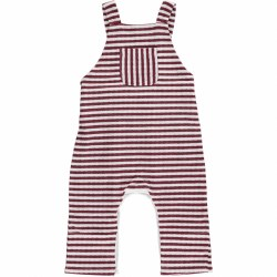 Wine Striped Overalls 12-18m