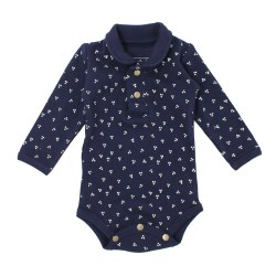Polo Bodysuit Navy Dots 12-18m