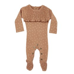 Smocked Overall Nutmeg Dots 12-18m