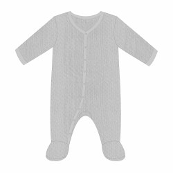 Grey Pointelle Footie 3-6m