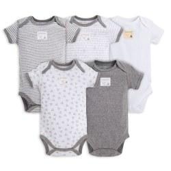 S/S Bodysuits 5pk Grey Preemie