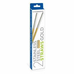 Stainless Steel Straw Gold 2pk