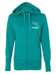Women's Zip Hoodie Turquoise L