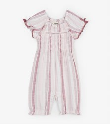 Pink Stripes Puff Romper 6-9m