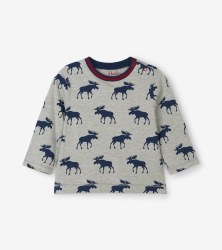 L/S Baby Tee Moose 12-18m