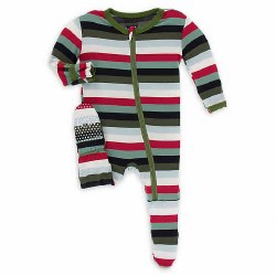 Footie Christmas Stripe 3-6m