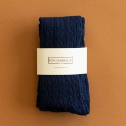 Cable Knit Tights Navy 5-6Y