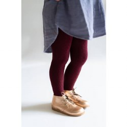 Cable Knit Tights Wine 0-6m