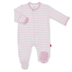 Footie Pink Stripe 3-6m