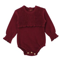Smocked Onsie Cranberry 0-3m