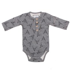 Henley Bodysuit Grey 0-3m