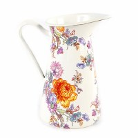 Flower Market White Enamel Practical Pitcher - Medium