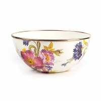 Flower Market White Enamel Everyday Bowl - Small