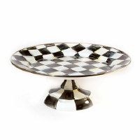 Courtly Check Enamel Pedestal Platter Small
