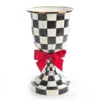 Courtly Check Enamel Pedestal Vase Red