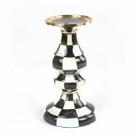 Courtly Check Enamel Pillar Candlestick - Medium