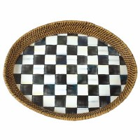 Courtly Check Enamel Rattan Tray Large Y